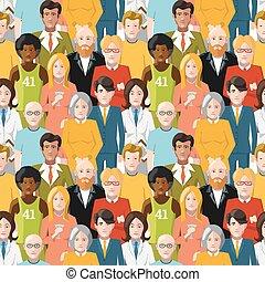 パターン, seamless, 群集, 人々
