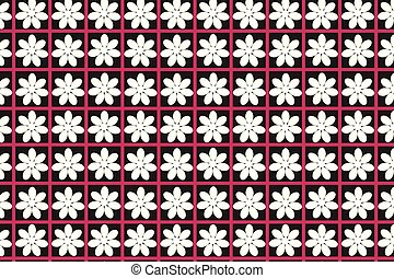 パターン, seamless, 背景, 白い花, 赤