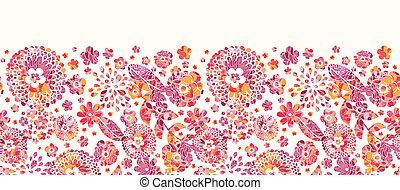 パターン, seamless, 背景, textured, 横, 花, ボーダー