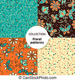 パターン, seamless, 花, セット, ベクトル