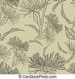 パターン, seamless, 花, ベクトル, 型