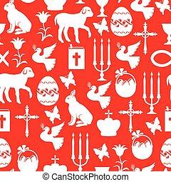 パターン, seamless, 要素, 背景, イースター, 赤