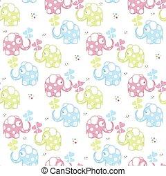 パターン, seamless, 象