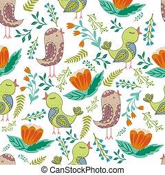 パターン, seamless, 鳥, cartoonish, ベクトル, 花, style.