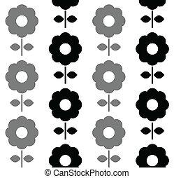 パターン, -, seamless, 黒, 花, 白