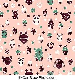 パターン, seamless, cakes.
