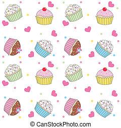パターン, seamless, cupcake