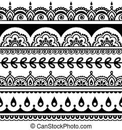パターン, seamless, -, indian, mehndi