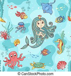 パターン, seamless, mermaid, 王女