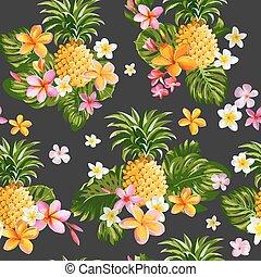 パターン, -, seamless, pinapples, トロピカル, ベクトル, 背景, 花, -vintage