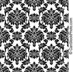 パターン, seamless, vector., ダマスク織