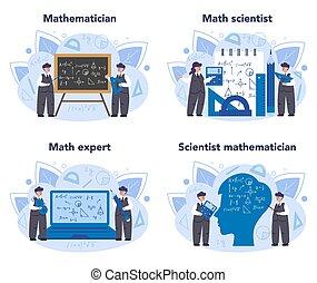 パターン, set., calculation., 作り出しなさい, 使用, 科学, 数学者