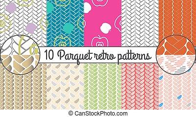 パターン, set., seamless, ベクトル, レトロ, 背景, 寄せ木張りの床