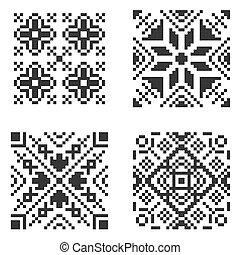 パターン, set., seamless, ベクトル, 民族, ピクセル