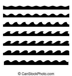 パターン, set., seamless, 波, ベクトル, テンプレート
