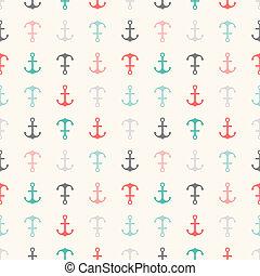 パターン, shapes., seamless, 手ざわり, ベクトル, 錨, 無限