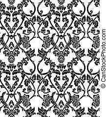 パターン, vector., ダマスク織, seamless