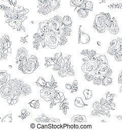 パターン, white., 引かれる, ナシ, 花, 生地, プリント, バラ, 包むこと, seamless, 手, 線, イラスト, 青