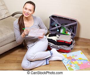 パッキング, 女, 若い, スーツケース
