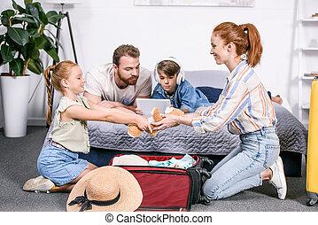 パッキング, 旅行, 家族, 手荷物