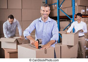 パッキング, 箱, 労働者, の上, 倉庫