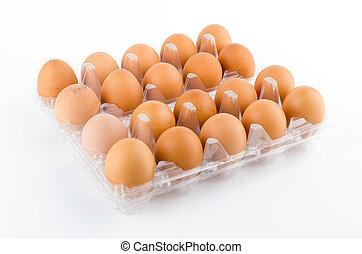 パックされた, 卵, 白い背景, 隔離された