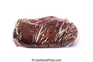 パックされた, 真空, 隔離された, 牛肉, 肉