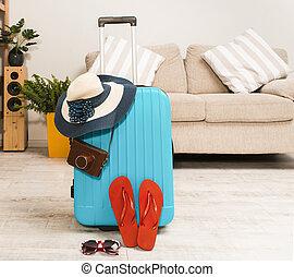 パックされた, vacation., 光景, 前部, スーツケース, 夏