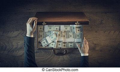 パック, ロット, 型, ドル, 豊富, ビジネスマン