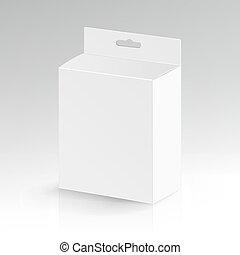 パッケージ, 現実的, vector., ブランク, 白, ボール紙, 長方形