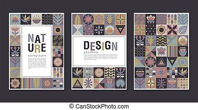 パッチワーク, カード, 最新流行である, 漫画, コレクション, ジャングル, design., 広場, ベクトル, 植物, モザイク, 創造的, 幾何学的