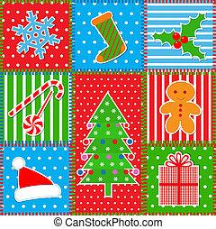 パッチワーク, クリスマス, 背景