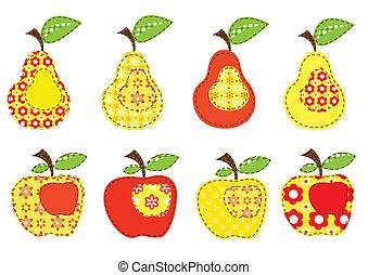 パッチワーク, セット, りんご, 西洋ナシ