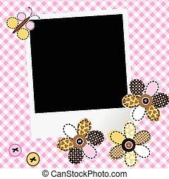 パッチワーク, 写真フレーム, scarpbook, デザイン, 女の赤ん坊, 花