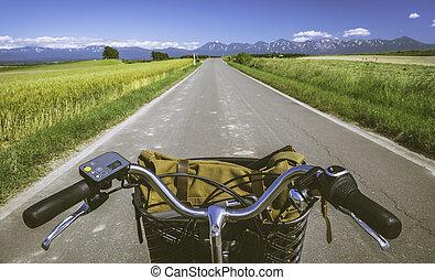 パッチワーク, 道, 旅行, biei, サイクリング