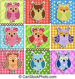 パッチワーク, owls.