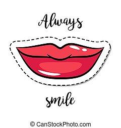 パッチ, 微笑, ファッション, 唇, 要素