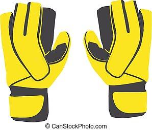 パッディング, 手袋, ゴールキーパー, 黄色