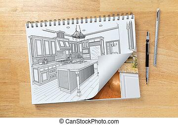 パッド, 図画, 建設, スケッチ, ショー, 机, ページ, 台所, 次に, 定規, 鉛筆, 回転, 終えられた