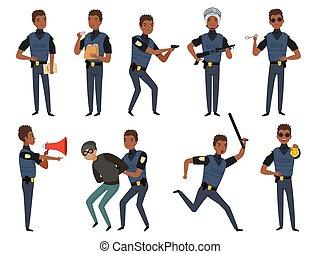 パトロール, 警官, 権威, 漫画, characters., ベクトル, イラスト, 警察, セキュリティー, ポーズを取る, 行動, マスコット