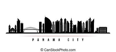 パナマ, スカイライン, banner., 都市, 横