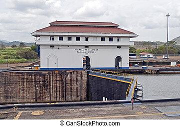 パナマ, locks., 運河, miraflores