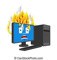 パニックに陥る, コンピュータ, 燃焼, 火, style., isolated., ベクトル, 漫画, データプロセッサ