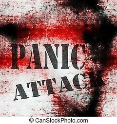 パニック, 壁, grungy, 攻撃, 概念