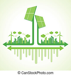 パネル, エコロジー, 概念, 太陽