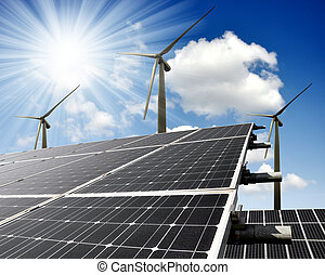 パネル, エネルギー, タービン, 太陽, 風