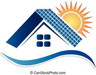 パネル, ロゴ, 家, 太陽