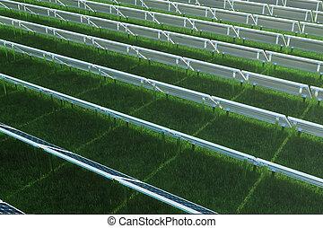 パネル, 雲, エネルギー, cells., エネルギー, grass., 青, 電気, 太陽, 光起電, 反射, ...