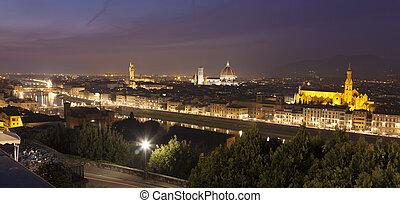 パノラマである, イタリア, トスカーナ, フィレンツェ