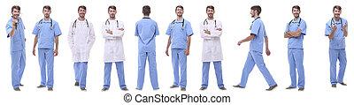 パノラマである, 医学のコラージュ, 隔離された, グループ, 医者, 白